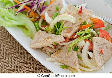 Spicy Vietnamese Sausage Salad ,Thai food name Yum Moo Yor