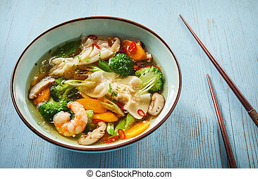 Spicy wonton soup with chili and dumplings