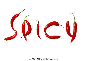 Spicy written with chilli peppers