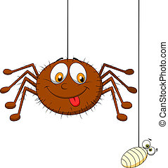 Spider and prey - Vector illustration of spider and prey