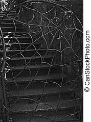 Spider and Web Iron Gate With Stairs - This vertical stock ...