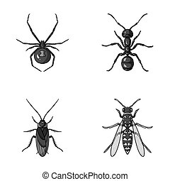 worm centipede wasp bee hornet insects set collection icons in