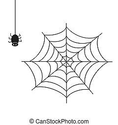 spider., arrière-plan., blanc, illustration