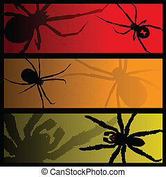 spider banners - Three scary banners featuring spiders and...