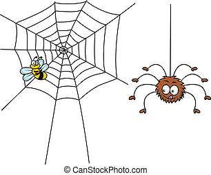 Spider cartoon ready for lunch