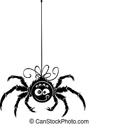 Spider contour ? simple black object on white background. ...