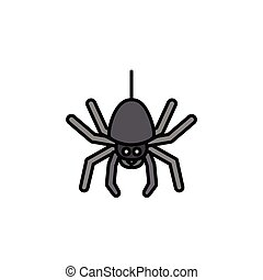 Spider. Filled color icon. Animal vector illustration - ...