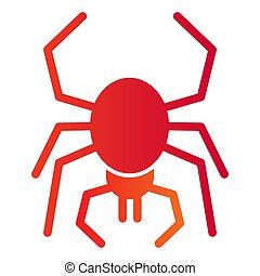 Spider flat icon. Scary arachnid insect. Halloween party vector design concept, gradient style pictogram on white background.