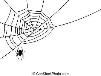 Spider hanging down from spiderweb. - Big black spider ...