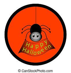 "Spider holding ""Happy Halloween"" sign."