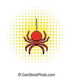 Spider icon in comics style