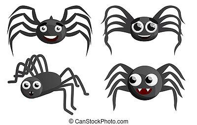 Spider icon set, cartoon style