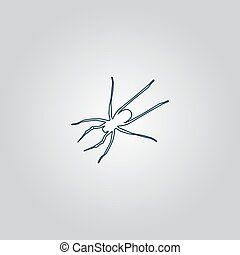 Spider icon - Spider. Flat web icon or sign isolated on grey...