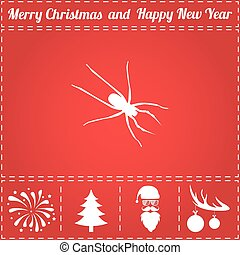 Spider Icon Vector. And bonus symbol for New Year - Santa...