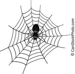 Spider in a Cobweb - illustration of a spider in a cobweb