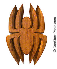 spider in wood - 3d