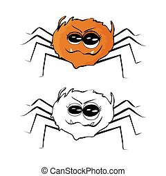 Spider Isolated on white background. Set of outline, colored and flat style spider.