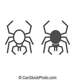 Spider line and solid icon. Scary arachnid insect. Halloween party vector design concept, outline style pictogram on white background.