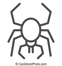 Spider line icon. Scary arachnid insect. Halloween party vector design concept, outline style pictogram on white background.