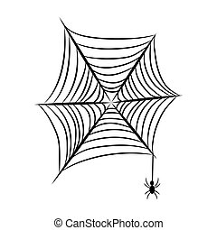 Spider net with spider insect on a white background vector object.