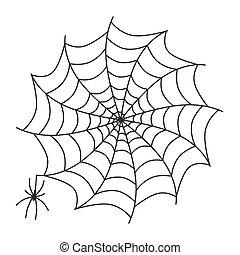 Spider on Cobweb Vector Illustration Isolated on White Background. Web Trap Symbol.