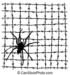 spider on the barbed wire vector