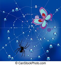 Spider on the web in dew drops and a caught butterfly