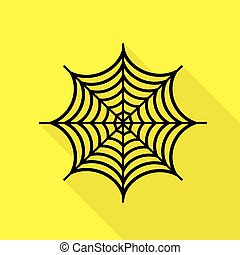 Spider on web illustration. Black icon with flat style shadow path on yellow background.