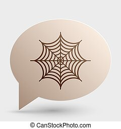 Spider on web illustration. Brown gradient icon on bubble with shadow.