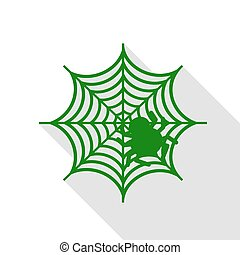 Spider on web illustration Green icon with flat style shadow path.