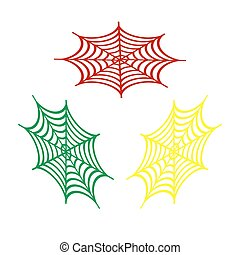 Spider on web illustration. Isometric style of red, green and yellow icon.