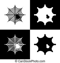 Spider on web illustration. Vector. Black and white icons and line icon on chess board.