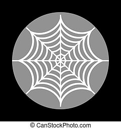 Spider on web illustration. White icon in gray circle at black b