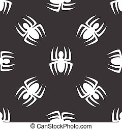 Vector silhouette of spider repeated on grey background