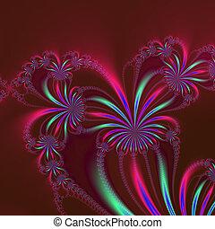 Spider Plant Fractal on Burgundy - Digital abstract image ...