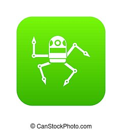 Spider robot icon digital green for any design isolated on...
