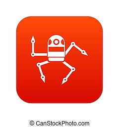 Spider robot icon digital red for any design isolated on...