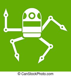 Spider robot icon green - Spider robot icon white isolated...