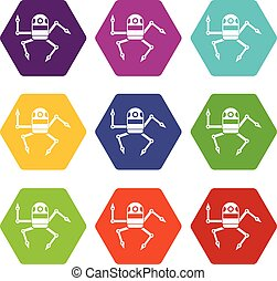 Spider robot icon set color hexahedron - Spider robot icon...