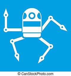 Spider robot icon white isolated on blue background...