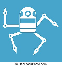 Spider robot icon white isolated on blue background vector...