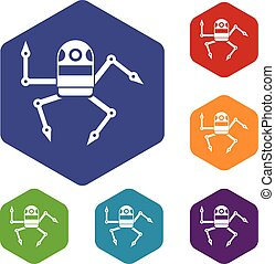 Spider robot icons set