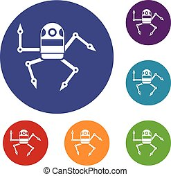 Spider robot icons set in flat circle reb, blue and green...
