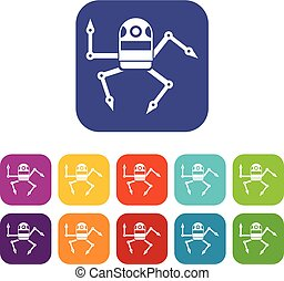 Spider robot icons set vector illustration in flat style in...