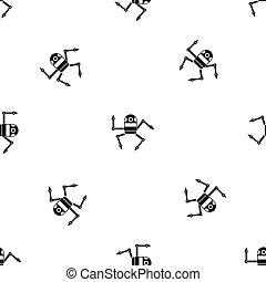 Spider robot pattern seamless black
