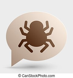 Spider sign illustration. Brown gradient icon on bubble with shadow.