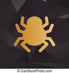 Spider sign illustration. Golden style on background with polygons.