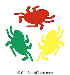 Spider sign illustration. Isometric style of red, green and yellow icon.