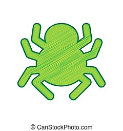 Spider sign illustration. Vector. Lemon scribble icon on white background. Isolated