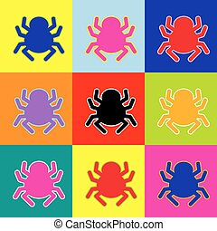 Spider sign illustration. Vector. Pop-art style colorful icons set with 3 colors.